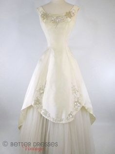 Vintage 50s Wedding Dress Gown Ivory Beaded Cupcake by Mike Benet Formals by Better Dresses Vintage