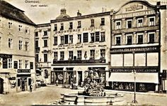 Roh Horního  náměstí okolo r. 1910, dnešní kavárna Mahler Louvre, Retro, Building, Travel, Voyage, Buildings, Viajes, Traveling, Trips
