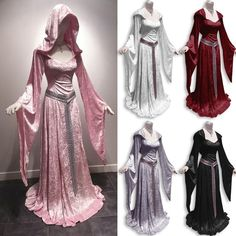 Wish   Women Vintage Celtic Dress Long Sleeve Velvet Medieval Dress Suqare Collar Hooded Floor Length Renaissance Gothic Dress Cosplay Halloween Costume