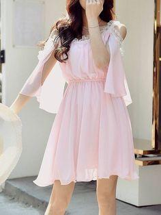 Shop Mini Dresses - Cold Shoulder Crew Neck Girly A-line Mini Dress online. Discover unique designers fashion at StyleWe.com.