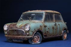 Rusted Austin Mini Cooper .. 1/35 Scale Model .. How good is this ?
