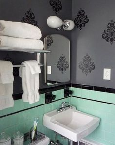 green and black tile bathroom | mint green and black retro original tile bathroom from late 1940s or ...