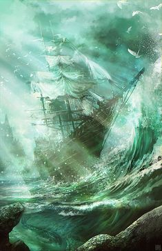 Ship in Ocean Storm. Light through clouds, transparent waves, rocks in focus close up w ship in distance