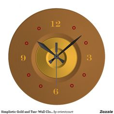 Simplistic Gold And Tan Wall Clock