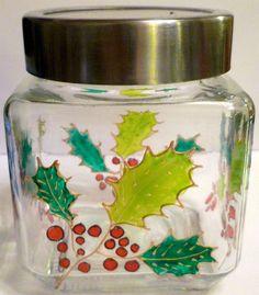 Designer Hand Painted midi sized Holly Storage Jar by HandPaintedJar on Etsy