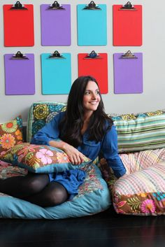 I like the clipboards in this picture. I guess the how-to is okay too :).     --- How to Create Your Own Colorful Jumbo Floor Pillows | Brit + Co.