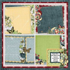 """Photo from album """"Butterflies and BlueJeans Bundle"""" on Yandex. Pattern Paper, Views Album, Digital Scrapbooking, Blue Jeans, Butterfly, Quilts, Stitch, Holiday Decor, Yandex Disk"""