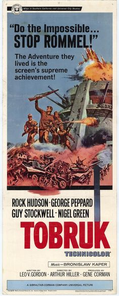Tobruk Movie Poster #RockHudson #GeorgePeppard #GuyStockwell #NigelGreen