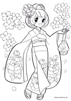 anime coloring page of a girl in a kimono