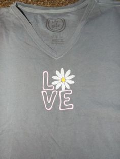 Life is Good womens LOVE top size S, Excellent cond!, Blue,cotton #LifeIsGood #EmbellishedTee