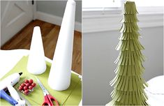 Make whimsical paper Christmas trees from foam cones and paper