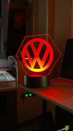 Engraved LED light on 4mm Acrylic. | Etsy Slide Design, Name Design, Light Up, Colours, Vw Conversions, Led, Remote, Base, Mini