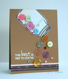 Use your buttons on a cute card like this one by Virginia L. Cute Cards, Diy Cards, Mason Jar Cards, Button Cards, Shaker Cards, Card Tags, Creative Cards, Scrapbook Cards, Scrapbook Layouts