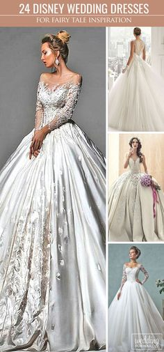 24 Disney Wedding Dresses For Fairy Tale Inspiration ❤ We propose you to see disney wedding dresses which reflect the style and beauty main heroines such as Cinderella, Tiana, Belle. Each dress is wonderful and unique. See more: http://www.weddingforward.com/disney-wedding-dresses/ #weddings #dresses