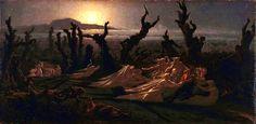 Les Lavandieres de la Nuit (The Washerwomen of the Night) Jean Edouard (Yan) Dargent (oil on canvas). Myths & Monsters, Celtic Mythology, Blog Pictures, Triple Goddess, Art Thou, Classic Paintings, Witch Art, Fantastic Art, Folklore