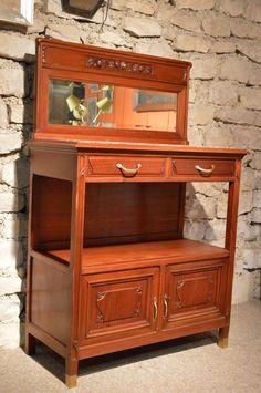 Art Nouveau, Objet D'art, Desk, Display, Furniture, Vintage, Home Decor, Beveled Mirror, Bar Cart