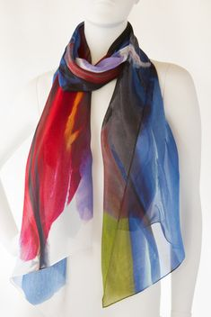 Kaleidoscope by Bette Ridgeway . Hand-rolled, silk signature scarf, inspired by the artist, Bette Ridgeway's collaboration with Mihara Yasuhiro, Japanese fashion designer on his 2013 women's wear collection. Limited edition of 100.