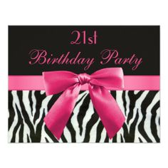 Zebra Stripes & Hot Pink Printed Bow 21st Birthday Invite
