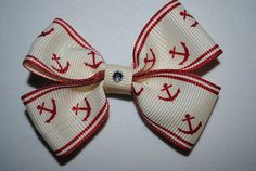 small toddler bow 3 inches hair clip hairbow MiAmor Mi Amor RockinRibbons anchors navy sailor America USN on Etsy, $2.00