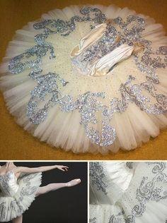 silver glitter embellished classical ballet tutu on ivory
