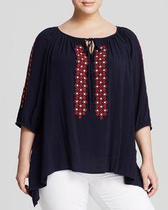 Karen Kane Plus Size Navy Blue Embroidered Peasant Blouse | Bloomingdale's #Karen_Kane #Plus #Size #Fashion #Red #Navy #Blue #Embroidered #Peasant #Blouse #Plus_Size_Fashion #Bloomingdales