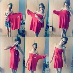 How to Turn Men's Tees and Long-Sleeve Shirts into Dresses. This could be a handy skill. #Recessionista
