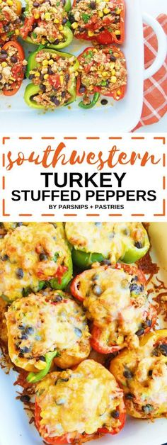 These Southwestern Turkey Stuffed Peppers are filled with quinoa, black beans, roasted corn, and spices. Topped with typical taco fixings, this healthy meal is a twist on a classic and filled with fiber and protein.
