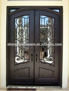 SEN-D024 Decorative Double Entry Wrought Iron Doors