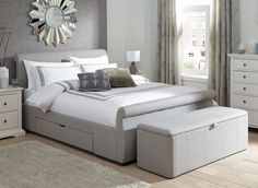 Lucia Silver Fabric Upholstered Bed Frame from Dreams. Upholstered Bed Frame, Upholstered Ottoman, Bed Frame With Storage, Bed Storage, Storage Chest, Bed Linen Design, Bed Design, Super King Size Bed, Cheap Bed Sheets