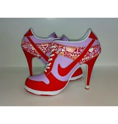 Nike Dunk SB high heels, now that's my type of tennis shoes; Nike High Heels, Red High Heels, High Heel Boots, Heeled Boots, Shoe Boots, Shoes Heels, Cute Shoes, Me Too Shoes, Awesome Shoes