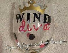 Wine Diva Wine Glass Great gift for Women by unameitpersonalized