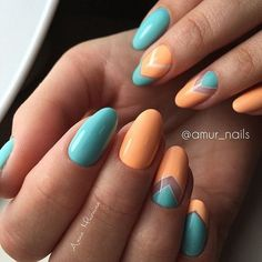 Orange and Blue Negative Space Nail Art. This easy to do negative space nail art is recommended for you whether you are going to a beach party or have your office days going on.