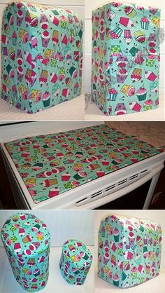 Custom Teal Cupcake Cover Set for Kitchen Countertop Appliances