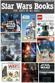 Do you have Star Wars fans from young to old in your family? There are tons of great Star Wars books for all ages! Inspire a beginning reader or help establish a love of reading in kids (and adults) with exciting stories of Jedi rebels and followers of the dark side. Star Wars Books by SunshineandHurricanes.com