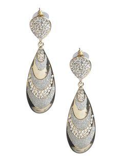 Glitter & Rhinestone Teardrop Earring - ARDEN B. #Earrings #Jewelry #Gold #Silver