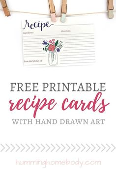 Free printable recipe cards from the Humming Homebody. These mason jar recipe cards are size 4x6 and print 2 to a page.