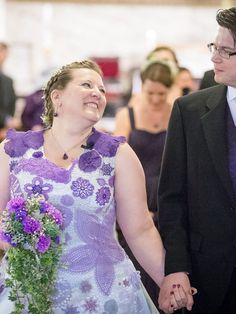 Wow! She crocheted part of her wedding dress and it's beautiful, and very special.