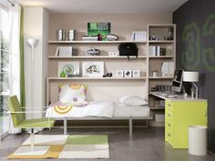 fold up in the wall beds for kids rooms | Fold-Away Single Wall Bed with Optional Shelves and Desk