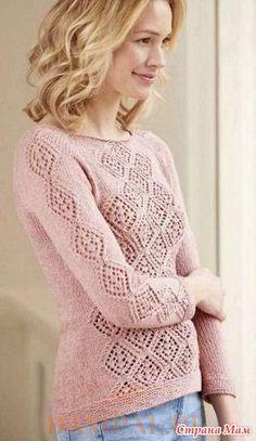 """Розовый ажурный джемпер выполнен фасоном реглан, выглядит женственно и элегантно. Описание джемпера от дизайнера Jennifer Wood переведено из журнала """"The Knitter"""". Размеры:"""