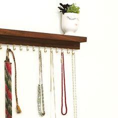 Modern Handmade Walnut Floating Shelf. 18 Jewelry  Rack. Organizer. by hilarylhahn.com