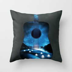 view from my guitar Throw Pillow by Viviana González - $20.00