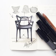 """LAST EPISODE of Chair Challenge is on my """"YouTube Olga Sorokina""""! Check it out!😃✏CHAIR CHALLENGE: how to draw Philippe Starck's """"Masters"""" chair. Episode #7 🎓Today we draw cool """"Masters"""" chair by famous designer Philippe Starck. 🎓Check the official hashtag #chairchallengeolgaart888 on Instagram! ✏I use here Chartpak markers, white pastel pencil and black ink pen to draw it."""