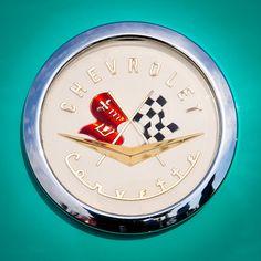 1956 Chevy Corvette Emblem by David Patterson 2012 Corvette, Chevrolet Corvette, Chevy, Car Badges, Car Logos, Chevrolet Emblem, Detroit Motors, Car Hood Ornaments, Autos