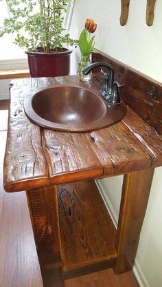 sink and faucet included. All custom order sale are final. Rustic Bathroom Designs, Rustic Bathroom Vanities, Rustic Bathroom Decor, Rustic Bathrooms, Rustic Decor, Barnwood Vanity, Rustic Vanity, Reclaimed Barn Wood, Rustic Wood