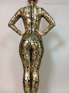 A personal favorite from my Etsy shop https://www.etsy.com/listing/251150540/royalty-gold-and-black-pattern-catsuit