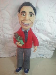"""Mr. Rogers felted doll, approx. 14"""" tall. By Shauna Shepherd"""