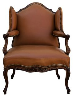 French Antique Louis XV Style Wing Chair