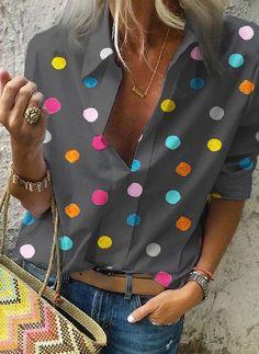 2020 Spring Women Bohemia Dot Print Blouse Pull Blusas Casual Tops Ladies Shirt Chemisier Femme Plus Size Hawaiian Shirt – fashion Half Sleeves, Types Of Sleeves, Polka Dot Blouse, Polka Dots, Collar Styles, Casual T Shirts, Casual Tops, Casual Wear, Casual Outfits