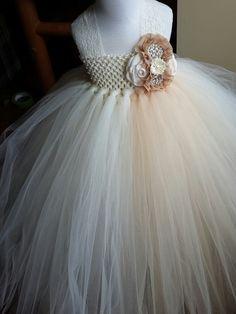 Ivory, BEIGE, tulle dress, princess party, flower girl, matching headband