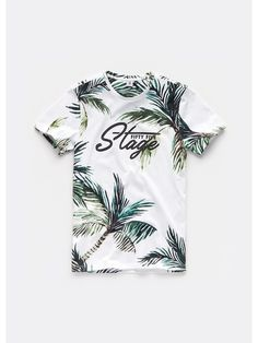 Heren palmen t-shirt wit - The Sting Mens Polo T Shirts, Sports Shirts, Mens Tees, Shirts For Teens Boys, Shirt Print Design, Streetwear, Mens Clothing Styles, Printed Shirts, Outfit